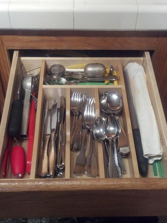 Built-In Utensil Tray - The right-sized utensil tray for every drawer because it is the drawer!  ShelfGenie of Los Angeles custom builds all of our pull out shelves, accessories and drawer replacements.
