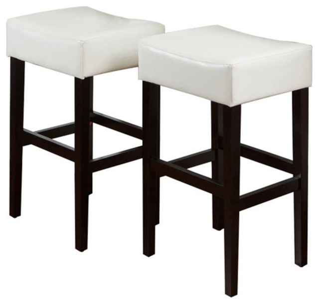classic white leather backless bar stool set of 2 traditional bar stools and counter. Black Bedroom Furniture Sets. Home Design Ideas