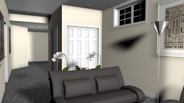 Basement design created in virtual reality traditional-rendering