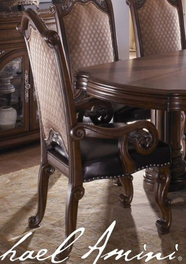 AICO Furniture - Fabric Back Arm Chair w/ Leather Seat - N53444-46A transitional-dining-chairs