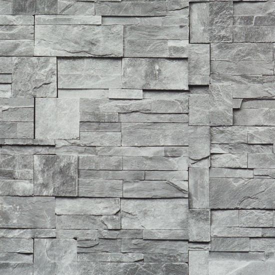 Faux Stone Wallpaper Grey Sample Contemporary