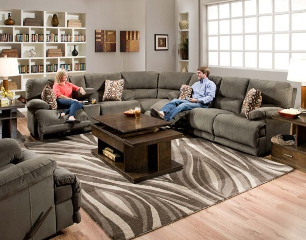 Catnapper - Riley Charcoal 3 Piece Sectional - 1221-1229-1228 transitional-sectional-sofas