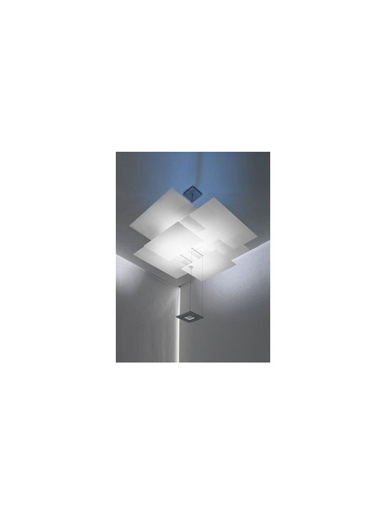 Layered Squares Chandelier - #EL00896-SQ-BN