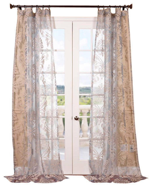 Agatha Taupe Gray Patterned Sheer Curtain Contemporary Curtains San Francisco By Half