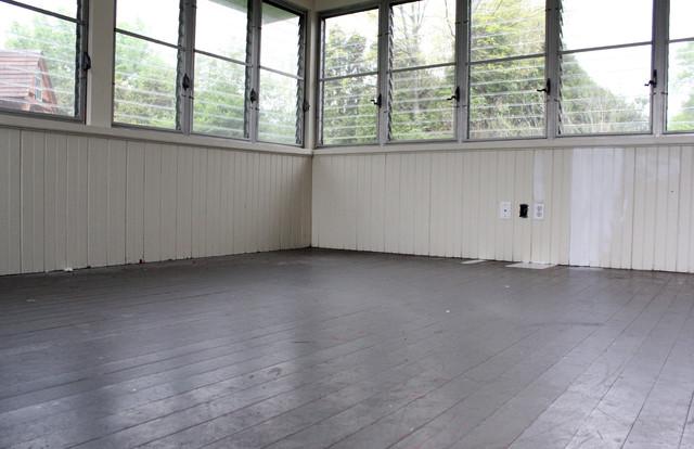 Painting stripes on a wood floor