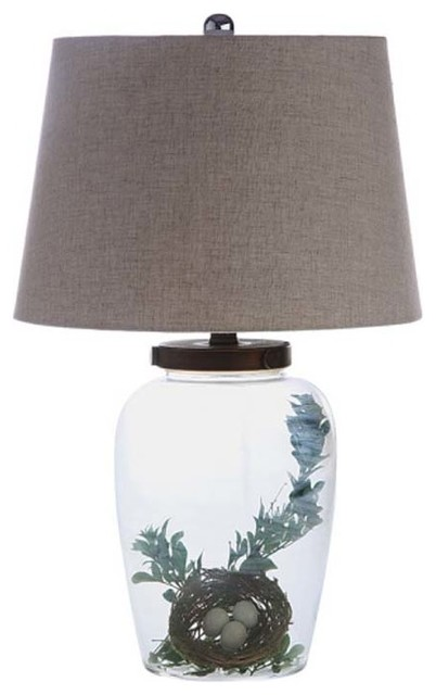 fillable glass table lamp with shade eclectic table. Black Bedroom Furniture Sets. Home Design Ideas