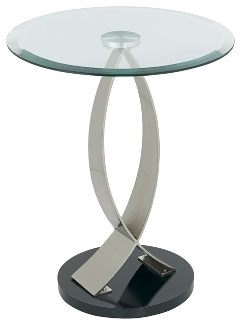 swoop glass and metal round end table contemporary