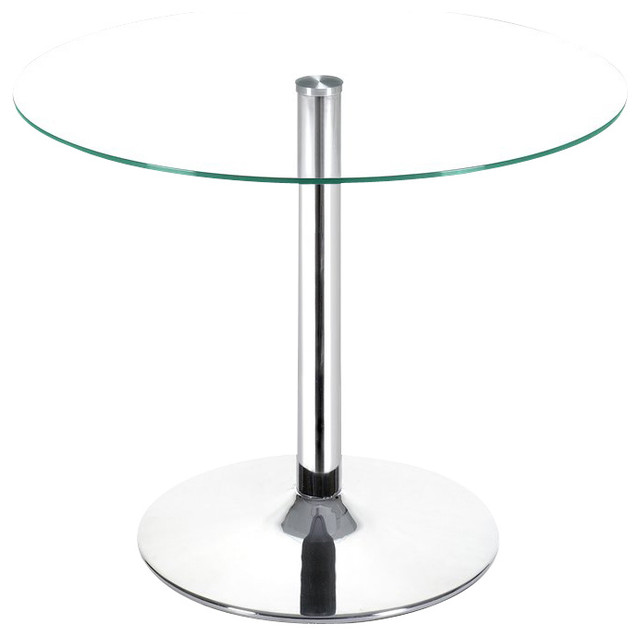 Glass Top Dining Table With Chrome Base Contemporary Dining Tables