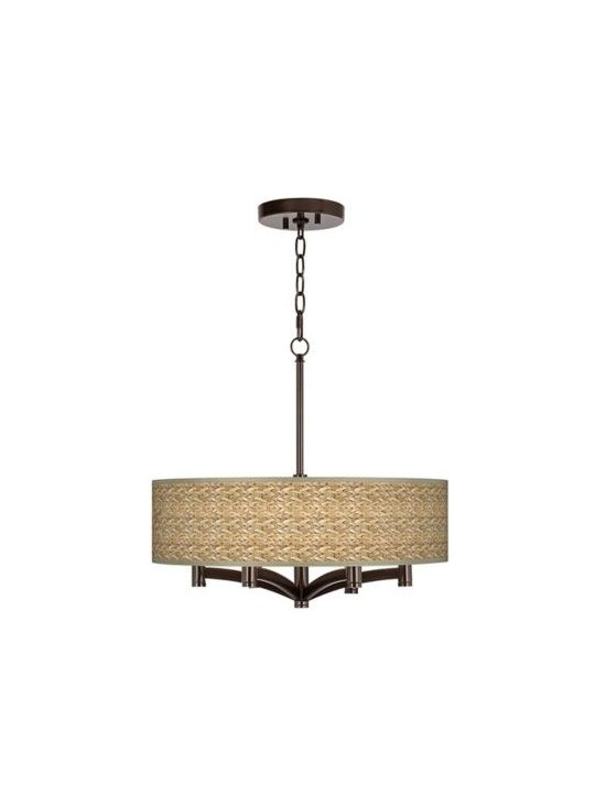 Ava Seagrass 6-Light Bronze Pendant Chandelier -