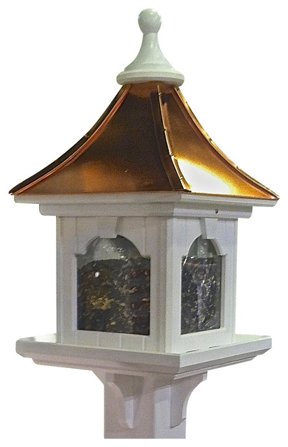 Extra large post mount bird feeder in vinyl copper bright