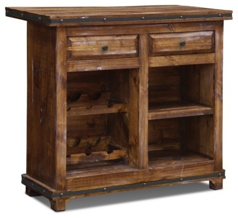 Rustic Reclaimed Solid Wood Bar with Wine Cabinet and Metal Foot Rail - Rustic - Wine And Bar ...