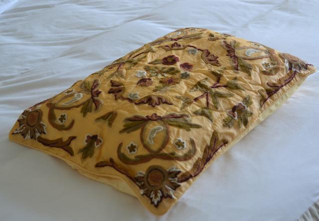 Crewel Pillow Art Nouveau Hay Gold  Silk Organza (20X26) traditional-shams