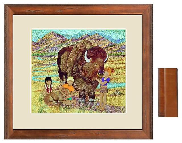 "Bonnie Buffalo, 19"" X 17"" Plus 1 3/16"" Frame and 2.5"" Mat contemporary-kids-decor"