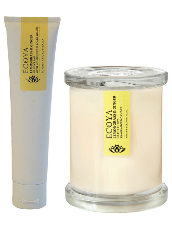 Lemongrass & Ginger Soy Candle & Lotion Set - A perfectly matched set of 2.5oz hand lotion and candles from Botany Bay, Australia in a clean and refreshing blend of citrus and ginger. The natural soy candles are hand-poured in a contemporary white jar and the matched lotion is perfect for those on-the-go.