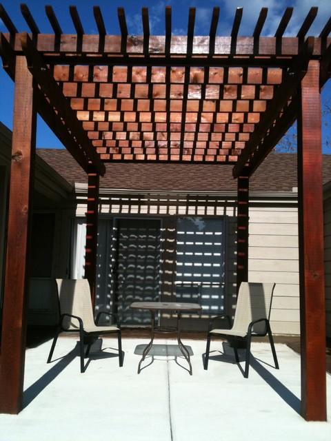Courtyard Western Red Cedar Pergola traditional-deck