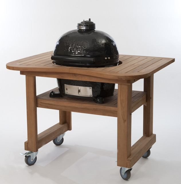 Primo oval junior 200 ceramic grill in black on teak table for B kitchen glass grill