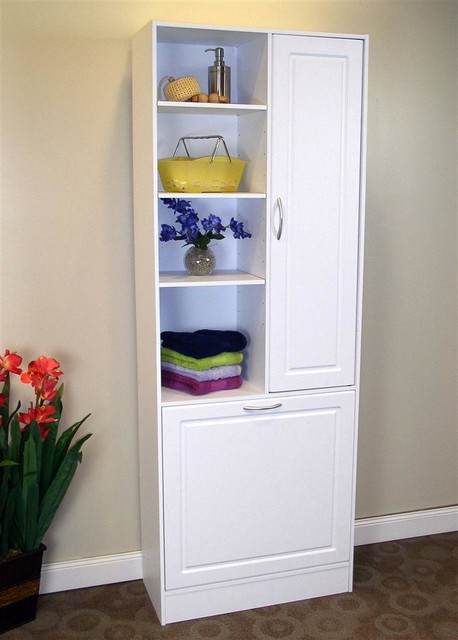 Linen Cabinet w Laundry Hamper - Contemporary - Bath Products - by ...