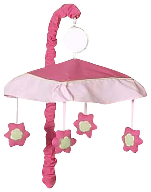 Pink and Green Flower Crib Mobile contemporary-cribs