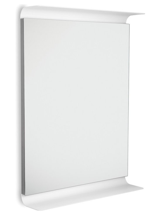 WS Bath Collections - Curva 5689 LED Lighted Wall Mirror with Shelves, Dark Grey - Curva by WS Bath Collections, LED Lighted Wall Bathroom Mirror with Shelves, in Painted Aluminum, Available in White, Red, Brown, Orange, Pink or Dark Grey