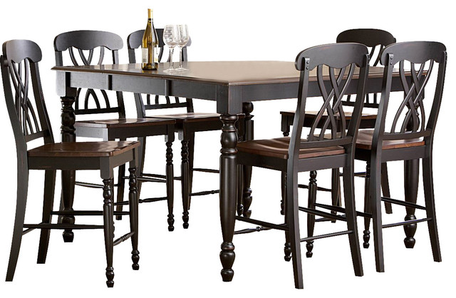 Homelegance Ohana 5 Piece Counter Height Dining Room Set In Black Cherry T