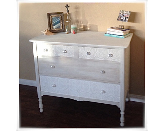 Small White Dresser - The facelift on this small dresser is beautiful!  It already had character but now it has texture, too.