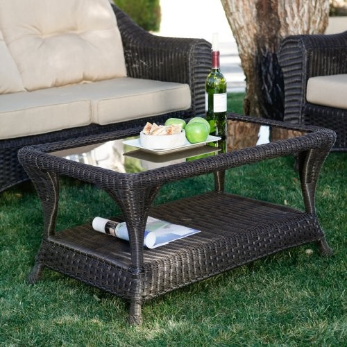 Coral Coast Southport All-Weather Wicker Coffee Table traditional-outdoor-dining-tables