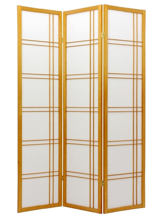 Extra-Tall Shoji Screen w Honey Finish and Double-Cross Grids -