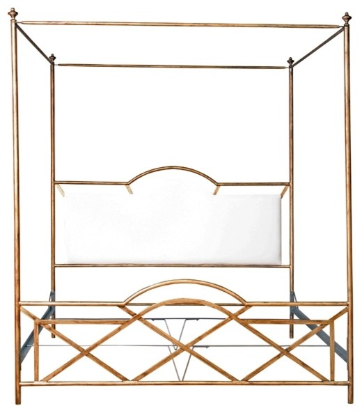 Westwood gold upholstered canopy bed traditional for Gold bed canopy