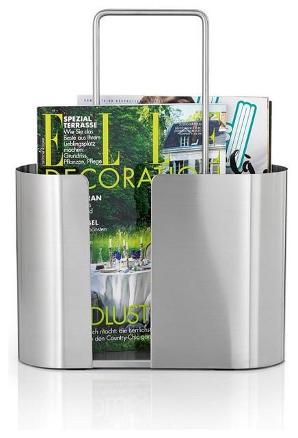 Seamo Oval Stainless Steel Magazine Rack contemporary-magazine-racks