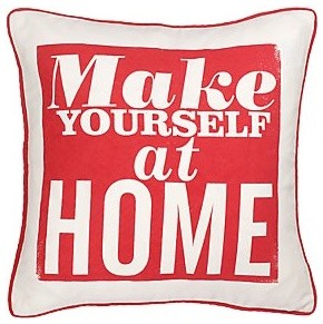 Red Make Yourself At Home Cushion decorative-pillows