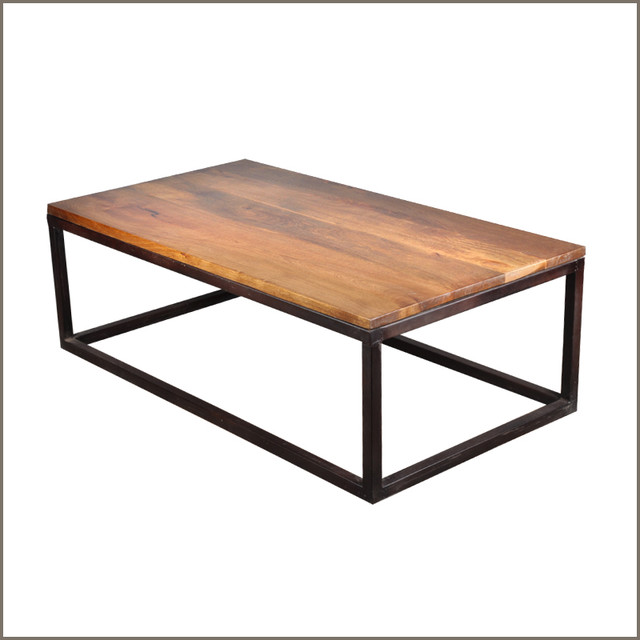 Industrial Iron Mango Wood 52 39 39 Long Coffee Table Modern Coffee Tables Austin By