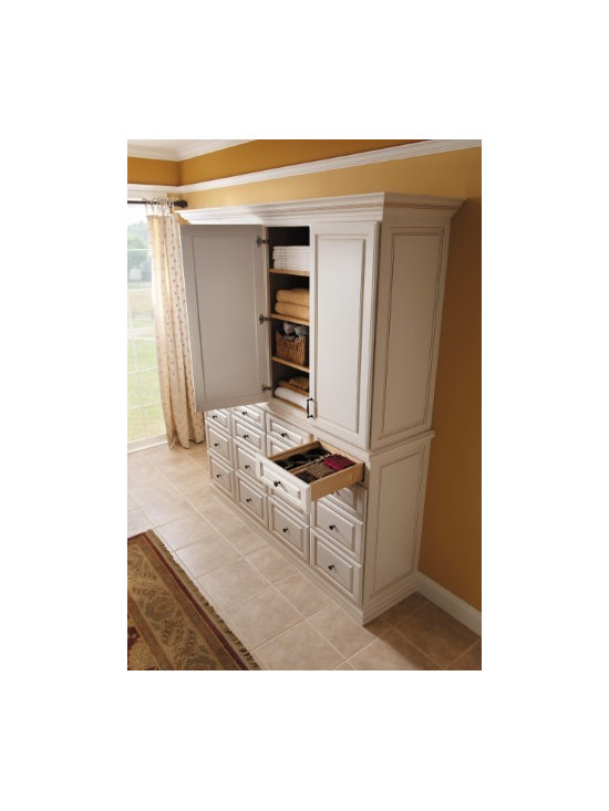 Getting Organized with Fieldstone Cabinetry - Kitchen Cabinetry being used for linen storage...not just for kitchens anymore.