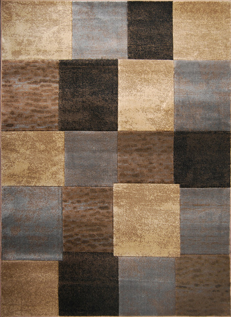Hand Carved Modern Element Brown Grey Rug 7 8 X 10 2