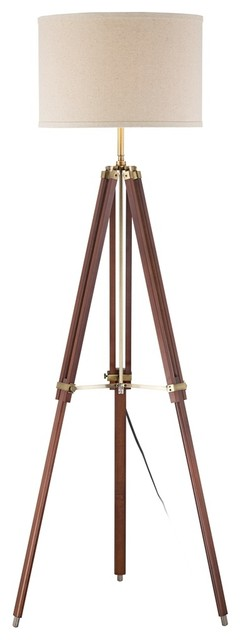 Contemporary Cherry Finish Wood Surveyor Tripod Floor Lamp contemporary floor lamps