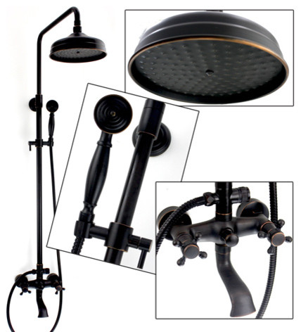 Oil Rubbed Bronze Rainfall Shower Faucet Set traditional-showerheads-and-body-sprays