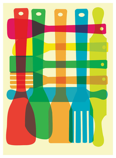 Kitchen art a place for everything mid century inspired kitchen - Utensil Stack Kitchen Poster Art Midcentury Prints And