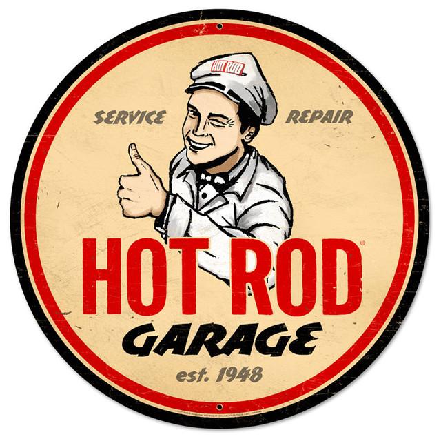 Modern Garage Signs : Hot rod garage vintage metal sign modern home decor