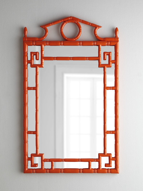 Horchow - Tangerine 'Pagoda' Mirror - Adding pops of color is so fun, so why not do it with a mirror? This one has an Asian feel and comes in a beautiful coral red shade.