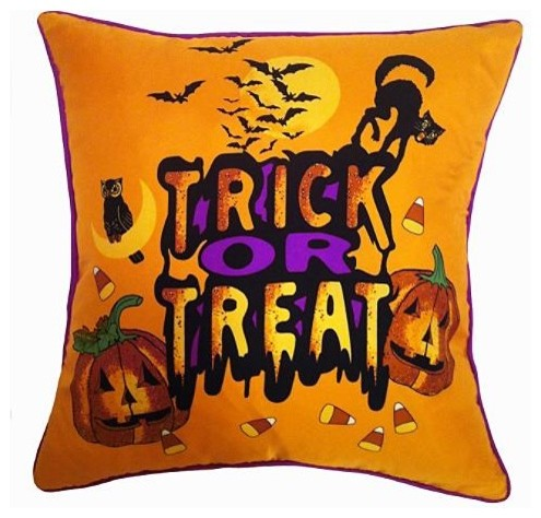 Trick or Treat Indoor Throw Pillow traditional-holiday-decorations
