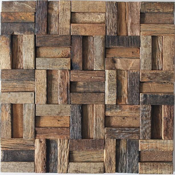 Ancient Wood Mosaic Tile Backsplash Natural Wood Mosaic