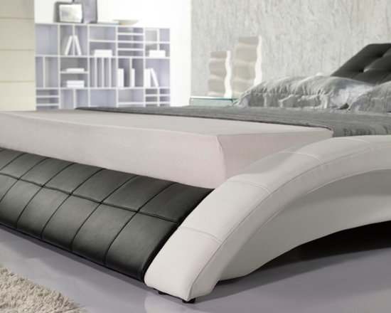 Leather Bed - Italian Leather - HX-A021-BW - Genuine Italian leather on headboard and leather match on the sideboards and back