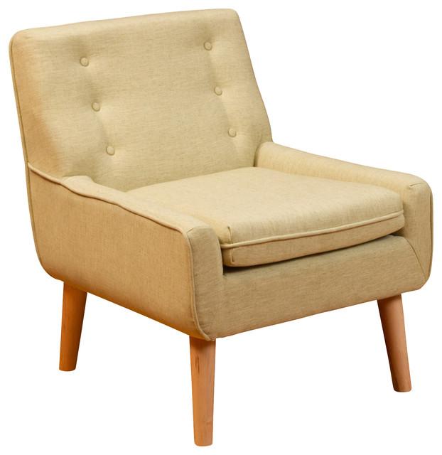 Brockston Citrus Champagne Fabric Retro Accent Chair