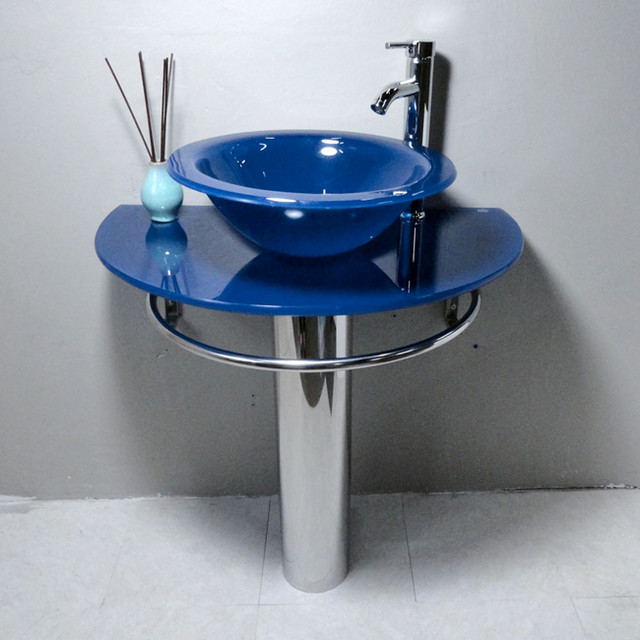 blue vessel sink pedestal bathroom vanity contemporary bathroom sinks