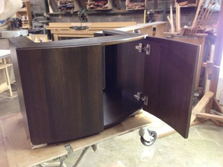 remarkable curved front bathroom vanity   Curved Front Walnut Veneer Vanity Cabinet - Contemporary ...