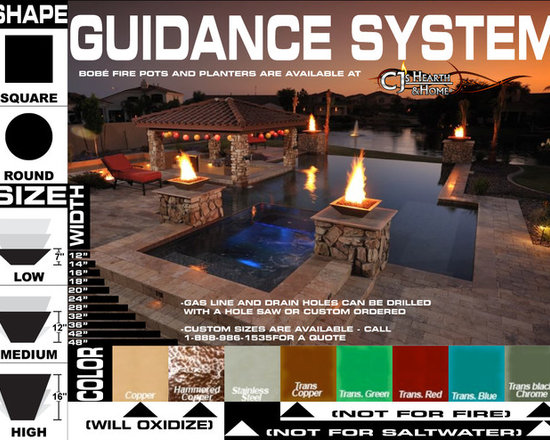 Bobe Water & Fire - Pool accessories - Bobe pots double as fire pots and as planters!  This guide has everything you'll need to start ordering today, just click the photo link or give us a call at 1-888-986-1535 to custom order!