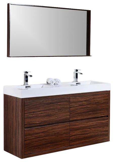 Bliss 59 Free Standing Double Sink Modern Bathroom Vanity Brazilian Walnut A Contemporary