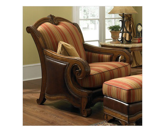 AICO Furniture - Toscano Wood Trim Leather Chair and Ottoman Set in Brick - 3493 - Set includes chair and ottoman