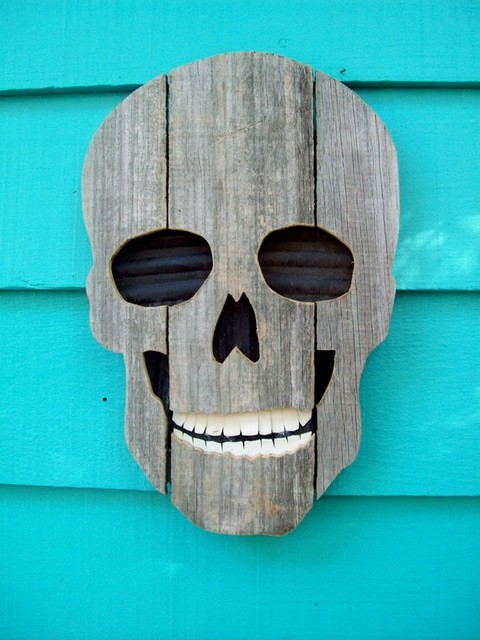 Upcycled Fence Wood Skull by John Birdsong contemporary-holiday-outdoor-decorations