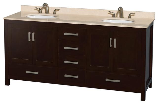 "Sheffield 72"" Espresso Double Vanity w/ Ivory Marble Top & Undermount Oval Sink modern-bathroom-vanities-and-sink-consoles"