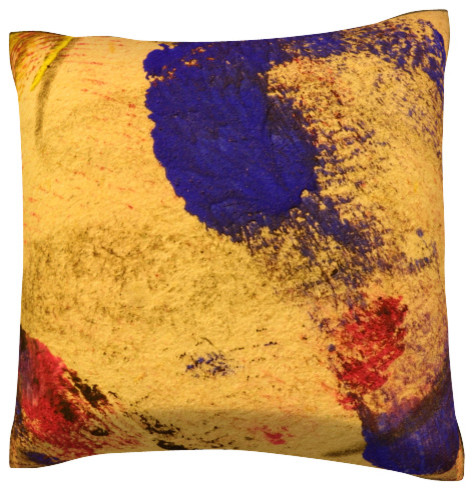 Painted Surface Pillow.  Polyester Velour Throw Pillow contemporary-decorative-pillows